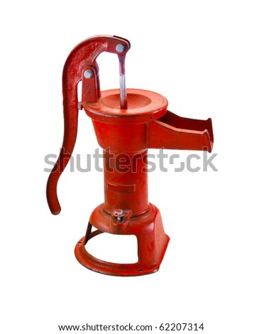 Red antique water pump isolated on white background