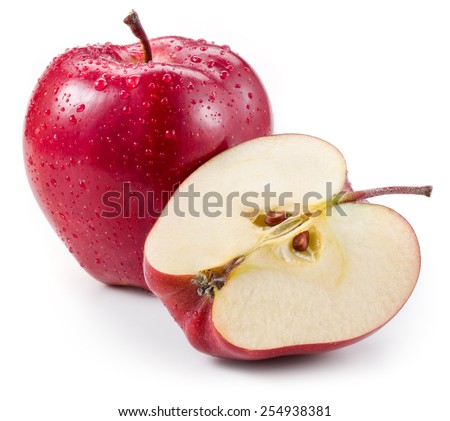 Red apple and a half with drops isolated on white - stock photo