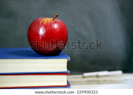 red apple and blackboard - stock photo