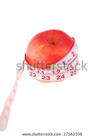 Red apple and centimeter. Isolated object. White background.