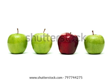 Red apple and green apples  isolated on white background