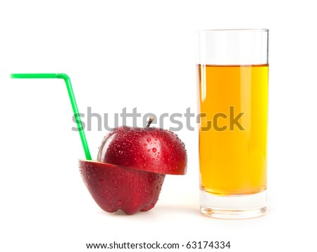 red apple and juice