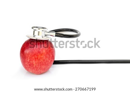 Red apple and Medical stethoscope isolated on white background - stock photo