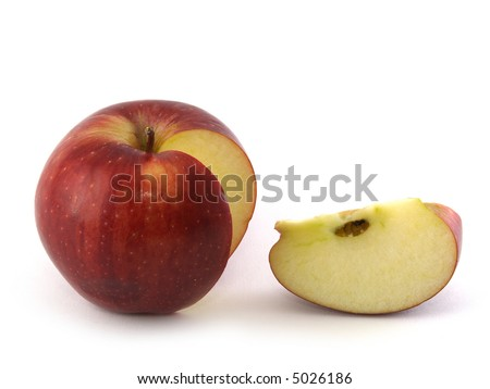 Red apple and piece isolated on white. - stock photo