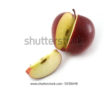 Red apple  and piece isolated on white - stock photo