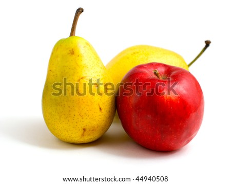 red apple and two yellow pears on a white background