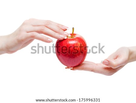 Red apple between woman hands isolated on whine background.