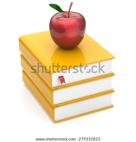 Red apple books yellow textbooks stack education studying reading learning school college knowledge literature idea icon index concept. 3d render isolated on white - stock photo