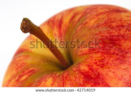 Red apple. Closeup. Macro. Isolated on White. - stock photo
