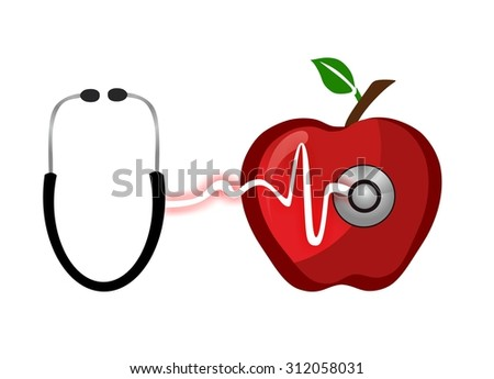 red apple for first aid - stock photo
