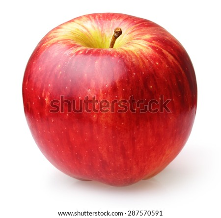 Red apple fruit isolated on white background - stock photo