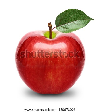 Red apple fruit with leaf isolated - stock photo