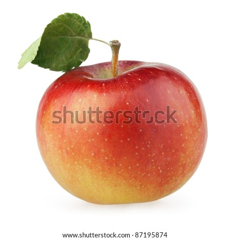 Red apple fruit with leaf isolated on white - stock photo