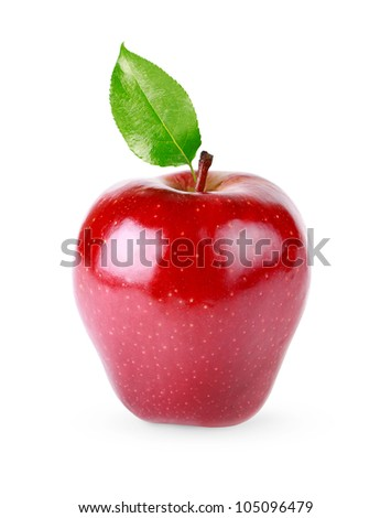 Red apple fruits with leaf isolated on white background