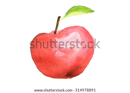 Red apple hand drawn watercolor on white - stock photo