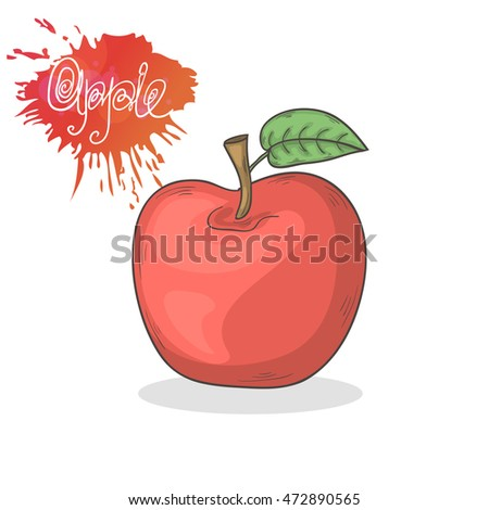 Red apple illustration isolated on a white background.Summer fruit icon hand draw in doodle style with shadow