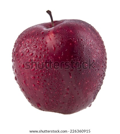 red apple in drops of water on a white background - stock photo