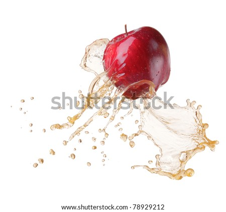 red apple in splash - stock photo