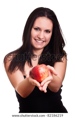 red apple in woman hands - stock photo