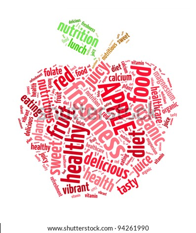 Red apple info-text graphics and arrangement concept (word cloud) - stock photo
