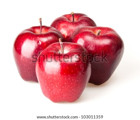 red apple isoalted on white - stock photo