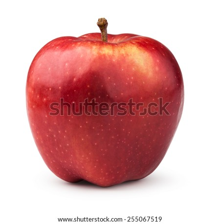 Red apple. Isolated on a white background. - stock photo