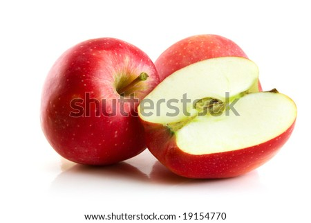 red apple isolated on the white - stock photo