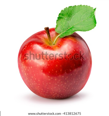 red apple isolated on the white background - stock photo
