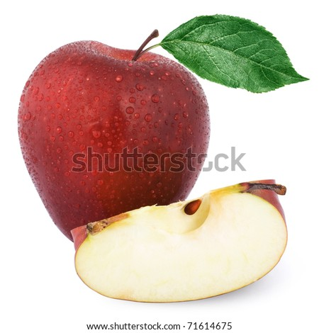 Red apple Isolated on white background. - stock photo