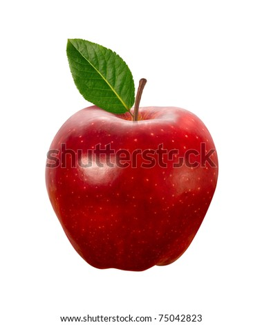 Red Apple isolated on white with a clipping path - stock photo