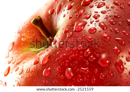 Red apple. Macro. - stock photo