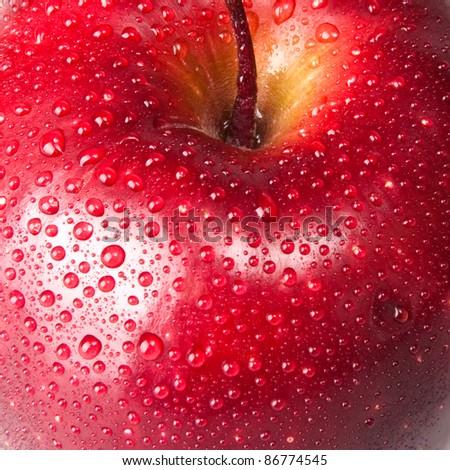 red apple, macro - stock photo