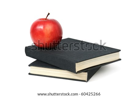 red apple on a book isolated on white - stock photo