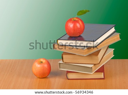 Red apple on  book