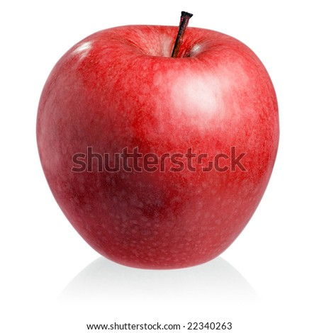 Red apple on white background (isolated). - stock photo