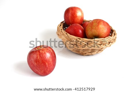Red apple placed on white background
