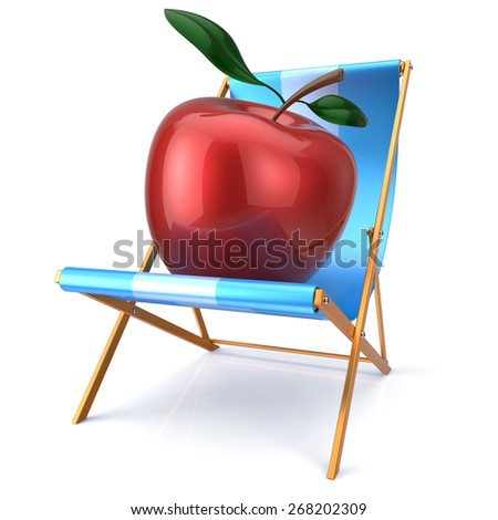 Red apple sitting in beach chair. Beauty healthy fresh food diet summer open air nutrition vegetarian concept. 3d render isolated on white - stock photo