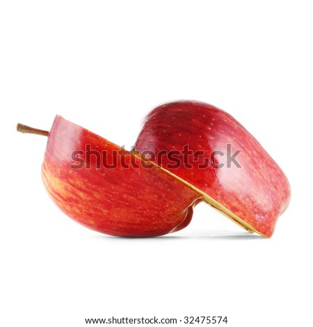 Red apple slices isolated on white - stock photo