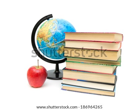 red apple, stack of books and globe on white background. horizontal photo. - stock photo