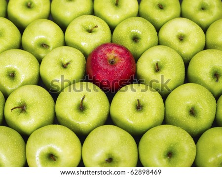 red apple standing out from large group of green apples. Horizontal shape - stock photo