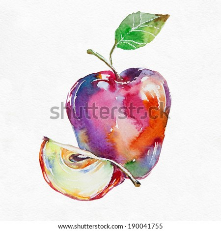 Red apple. Watercolor painting on white background. - stock photo