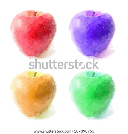 red apple, watercolor painting on white background / A set of watercolor apple on white background / t-shirt graphics - stock photo