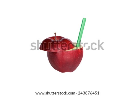 Red apple with a green straw isolated over white background - stock photo