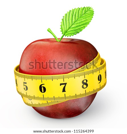 red apple with a meter isolated on a white