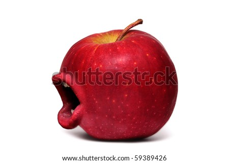 Red apple with a mouth