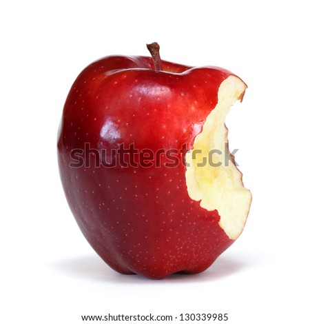 red apple with bite - stock photo