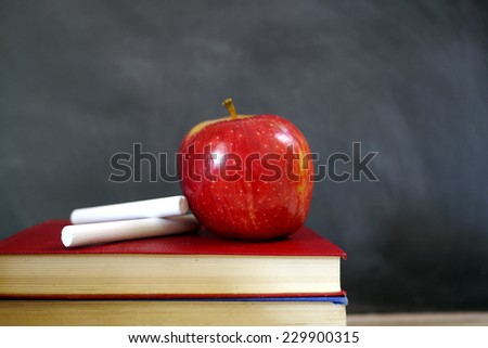 red apple with chalk and blackboard