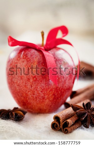 Red apple with cinnamon sticks and anise stars - stock photo