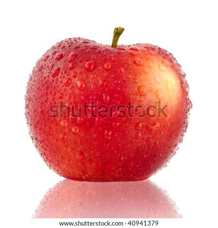 Red apple with drop of water isolated on white background - stock photo