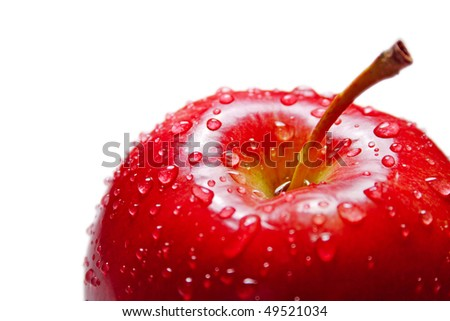 red apple with drops of close - stock photo